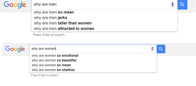 Men and women in Google searches